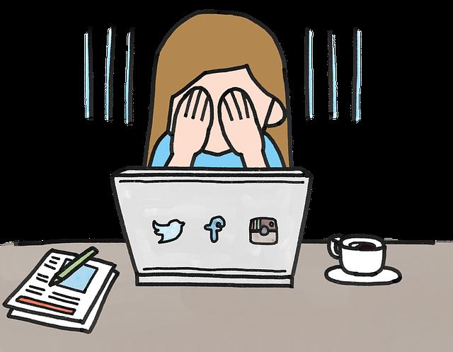 Osoba pri notebooku si zakrýva tvár, plač, ilustrované.png